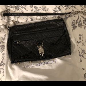 Rebecca Minkoff Black Quilted Patent Mac Crossbody